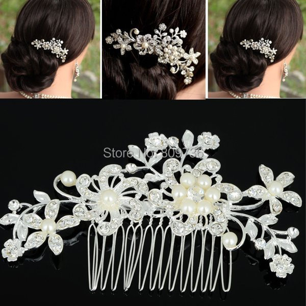 1PC Fashion Girls Womens Crystal Elegant Silver Wedding Bridal Hair Comb Pearl Hair Pin Clip Clothing Accessories Jewelry Free(China (Mainland))