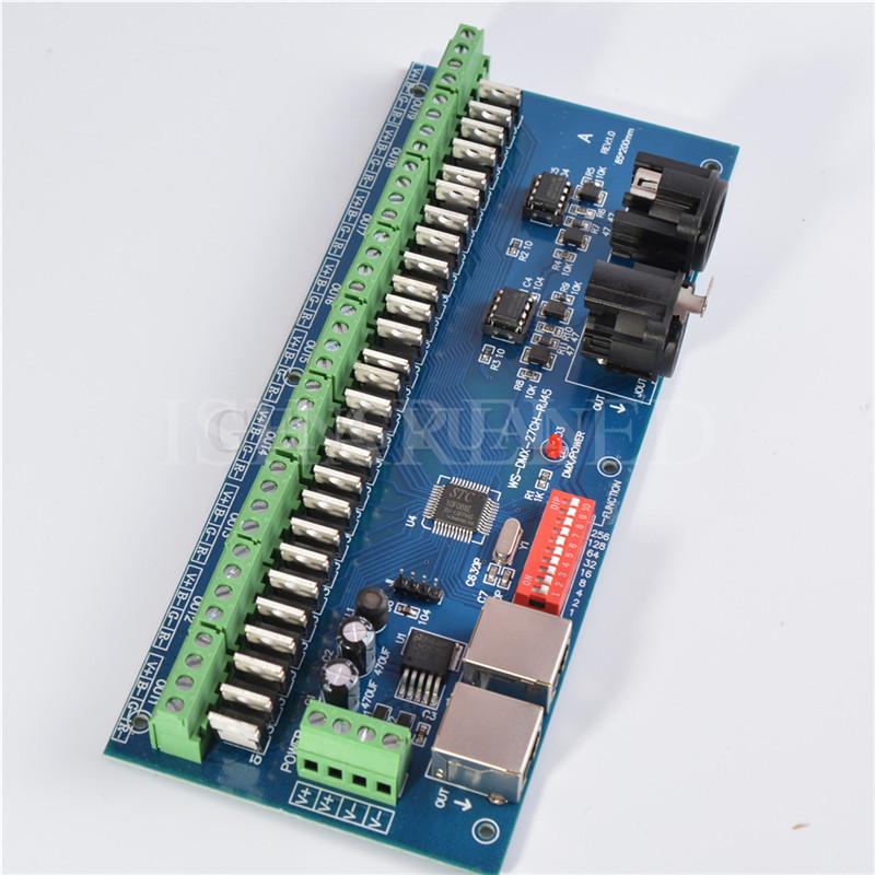 Easy 27CH RJ45 DMX RGB LED Controller DMX512 Driver Decoder 9 group RGB Output(China (Mainland))