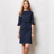 Buy A-line Vintage Dress Half Sleeve Navy Blue Retro Dress Autumn OL Wear Work Elegant Vintage Dresses for $53.09 in AliExpress store