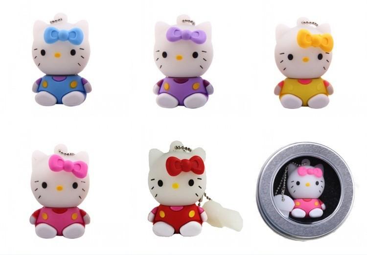 2016 New arrival Cute usb flash drive 64G 32G cat pen drive 16G 8G hello kitty pendrive u disk flash card pen drive Memory stick(China (Mainland))