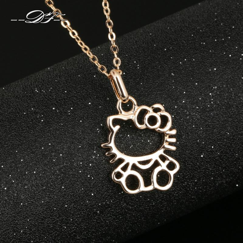 Anti Allergy Cute Hello cat Rose Gold Color Chain Necklaces & Pendants Wholesale Fashion Brand Jewelry For Women DFN293(China (Mainland))