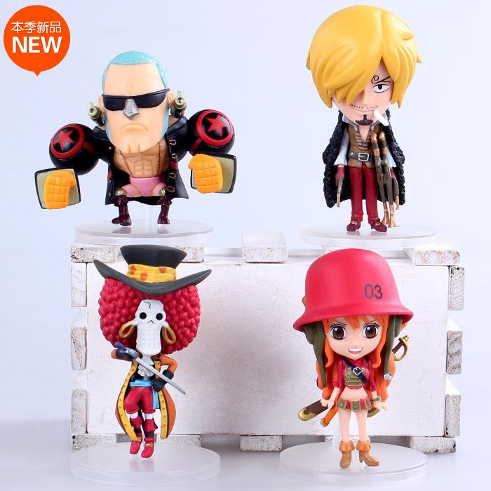 4pcs/set Anime One Piece Film Z Frank Sanji Nami Brook Q Version PVC Action Figure Collection Model Toys Dolls OP103