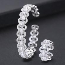 GODKI יוקרה אפריקאי צמיד טבעת סטי אופנה דובאי כסף כלה נשים חתונה brincos para כמו mulheres 2019(China)