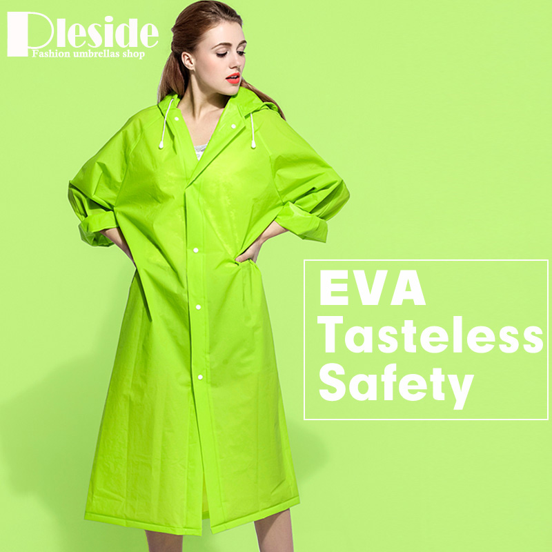 EVA Environment Safety Raincoat With Hood For Men And Women Outdoor Rainwear Waterproof Poncho Over Knee