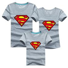 Superman Family Matching Outfits T-shirt Clothes For Dad Mon Daughter and Son 2015 Summer Father and Son Suits Top Clothing(China)