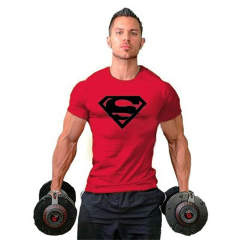 Hot Sale Gym Men's Superman Absorb Sweat Muscle T-Shirt Training Shirt Workout Bodybuilding Tee Fittness Gym Clothes(China (Mainland))