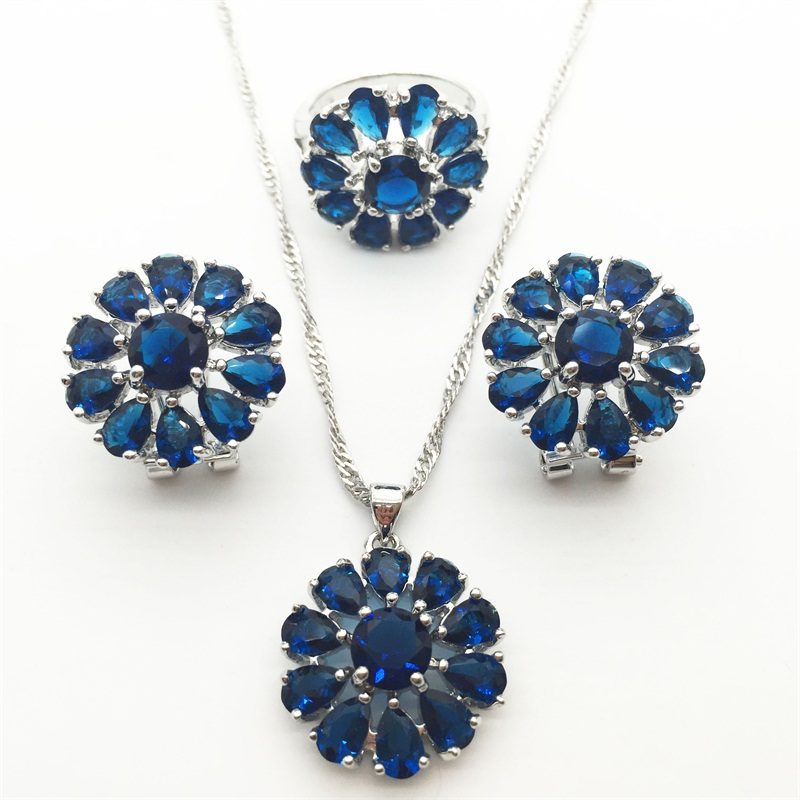 Luxury Montana Blue Sapphire Tanzanite Jewelry Sets For Women 925 Sterling Silver Earring/Pendant/Necklace/Ring Free shipping(China (Mainland))