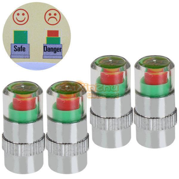 4pcs/Lot 2.2 bar 32PSI tire pressure,car tire Monitor pressure gauge,Cap Sensor Indicator 3 Color Eye Alert air pressure gauge(China (Mainland))
