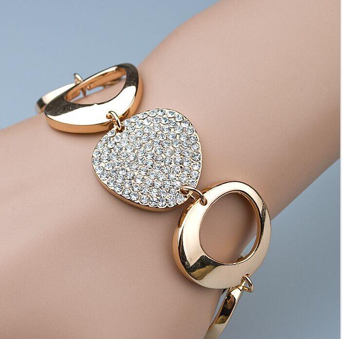 style Women fashion temperament rhinestones Micro Pave CZ Gold Plated personality circle bracelet jewelry - Big Tree LYY store