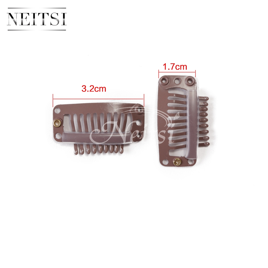 Neitsi 100 pcs Black/Blonde/Brown I-Shape Snap Clips For Hair Extensions 32mm*17mm Diy Metal Clips Wig Weft Fast Shipping<br><br>Aliexpress