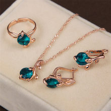MINHIN Afrikanische Hochzeit Schmuck Sets Gold Kette Halskette Ohrringe Ring Frauen Mode Kristall Schmuck Set(China)