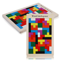 New Kids Children Colorful Wooden Tetris Puzzle Early Educational Building Block(China (Mainland))