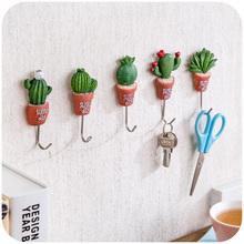 Creative Simulation Succulent Plants Pot Strong Self-Adhesive Wall Hook Hanger Bag Keys Bathroom Kitchen Sticky Towel Holder(China (Mainland))