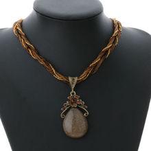 Elegant 2016 New Ethnic Style Alloy Rhinestone Necklace Natural Stone Pendant Chain Choker Bib Statement Necklace(China (Mainland))