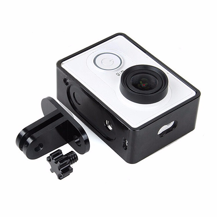 Aluminum Alloy protective frame case (Black or red) for xiaomi yi action sports camera With Adapter+screw accessories
