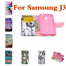 NEW Coloured Drawing PU Leather Wallet Case For Samsung Galaxy J3 J300 J3000 Phone Cover With Stand & Card Slots accessories