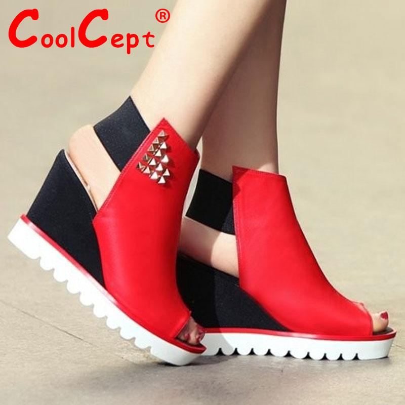 women real genuine leather gladiator platform wedge high heel sandals sexy fashion brand heeled ladies shoes size 34-39 R6683<br><br>Aliexpress