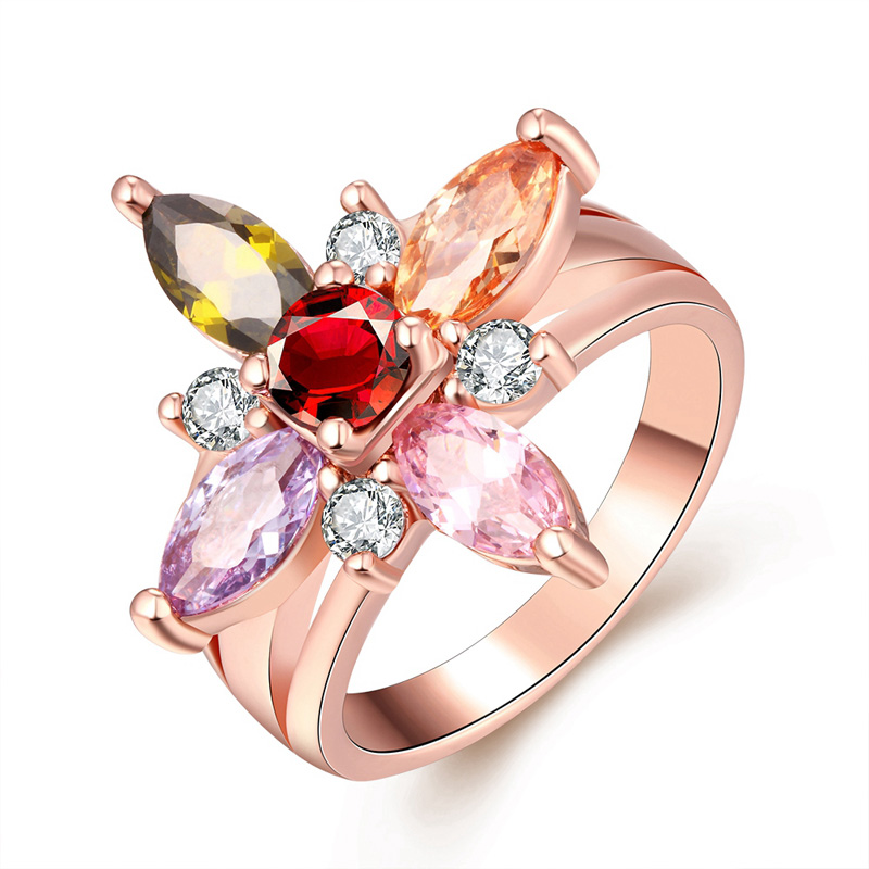 Female Luxury Engagement Ring With CZ Crystal Gold Plated Colorful Star Royal Rhinestone Wedding Finger Rings For Women Gifts(China (Mainland))