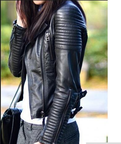 Bomber Leather jackets new 2015 women designer fashion outerwear jacket supernova sale jaqueta couro size sml Free shipping(China (Mainland))