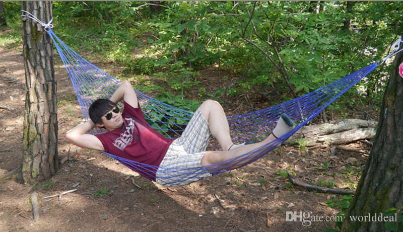 Outdoor Camping Hammock Netty Nylon Single Man Woman Hammock Beach Travelling Hanging Sleeping Bed hb325(China (Mainland))