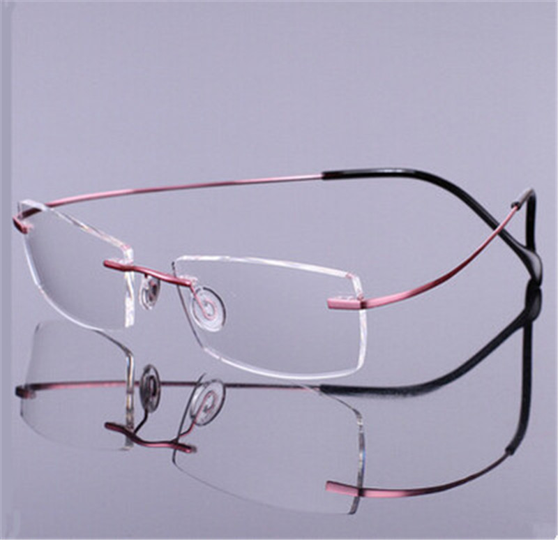 Brand Titanium Rimless Glasses Myopia Glasses Frame for ...