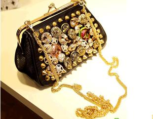 2013 fashion gentlewomen women's handbag messenger bag button rivet clip small bag(China (Mainland))