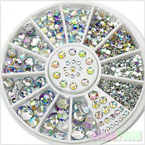 Nail Acrylic 5 Sizes White Multicolor Art Decoration Glitter Rhinestones 15g Hot Sale(China (Mainland))