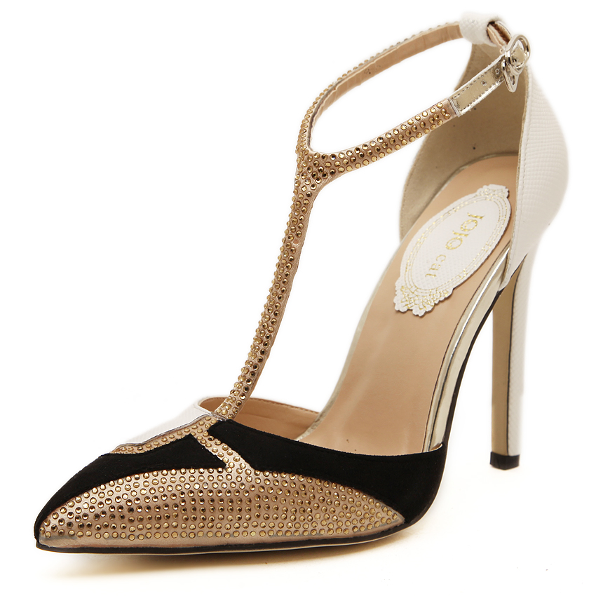 2016 new gold dress sandals pointed toe high heels women for Gold dress sandals for wedding