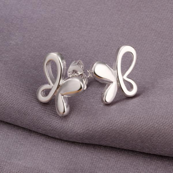 Wholesale Fashion 925 Sterling Silver Butterfly Shaped Solid Alternation Hollow Stud Earrings Ear Rings Pendant Jewelry E314(China (Mainland))