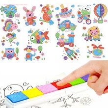 DIY 8Pcs Cartoon Kid Finger Painting Craft Set Children Colorful Fingerpaint Drawing Education Learning Picture Toy(China (Mainland))