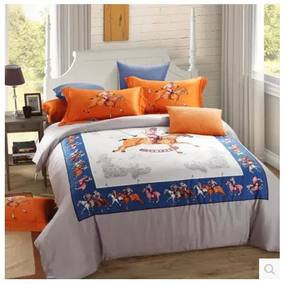 Luxury 100% egyptian cotton bedding set brand sheets horse orange king queen size quilt duvet cover brand bedroom linen 80(China (Mainland))