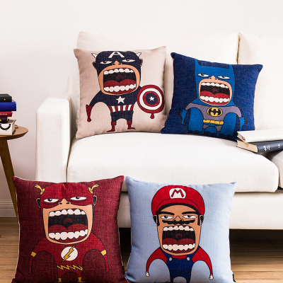 Free shipping throw pillow wedding decor linen fabric gift Hot sale 100% new 45cm Captain America sofa cotton cushion cover