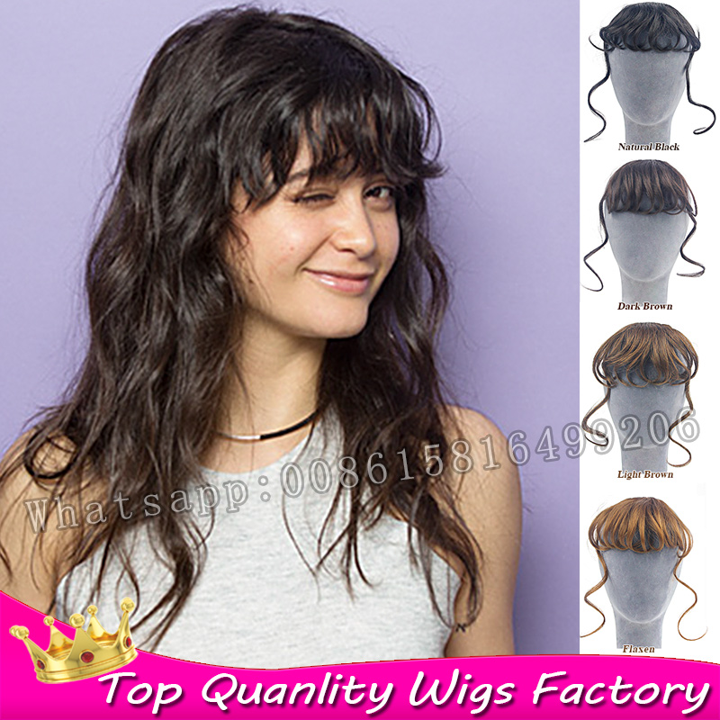 New Fashion fake hair clip in bangs hairpiece long bangs fringe clip in hair extensions synthetic curly hair weave hair fringe(China (Mainland))