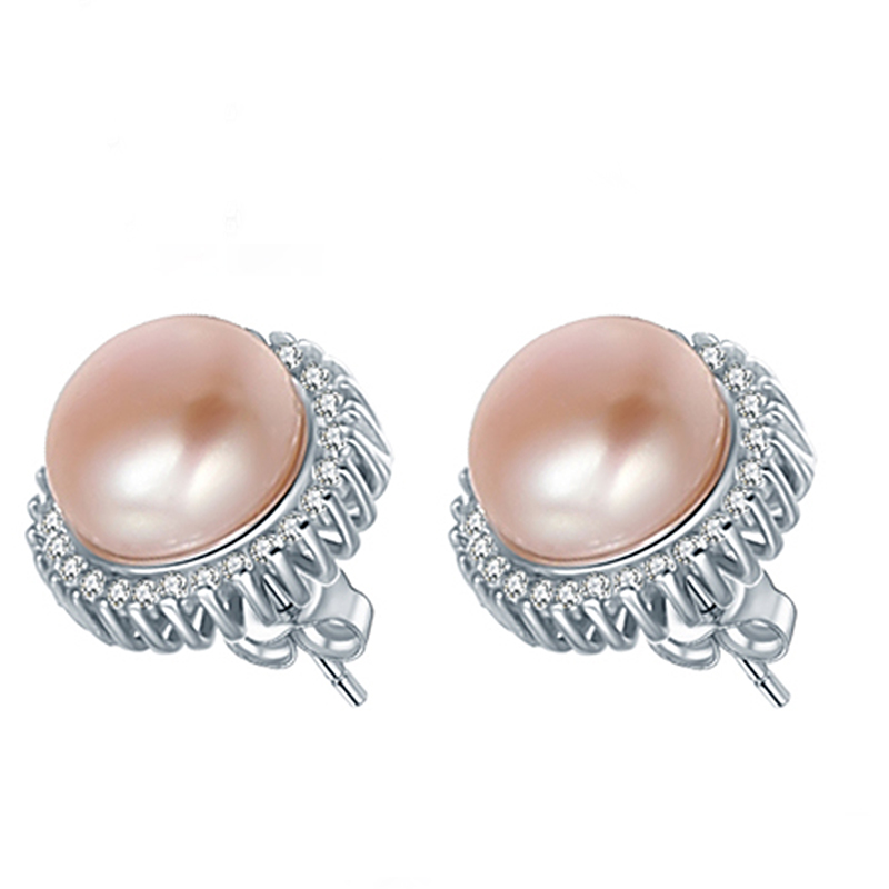 2016 New Arrival AAA Grade Real Natrual Freshwater Pearl Stud Earrings For Women With Great 925 Sterling Silver Earring Hot Sale(China (Mainland))