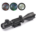 4 16X50YG Sniper Riflescope with Illuminated Red Green Rangefinder Reticle Triple 20mm Rail for Hunting Gun