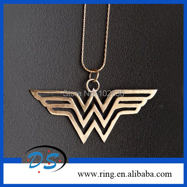 Здесь можно купить  New Statement Jewelry Wonder Woman DC Super Hero Pendant Chain Steel Hollw Necklace 100pcs/lot Free Shipping  Ювелирные изделия и часы