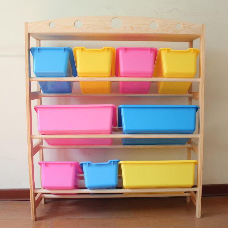 Toys storage holder cases rack wooden kids putting away for Meuble 12 cases