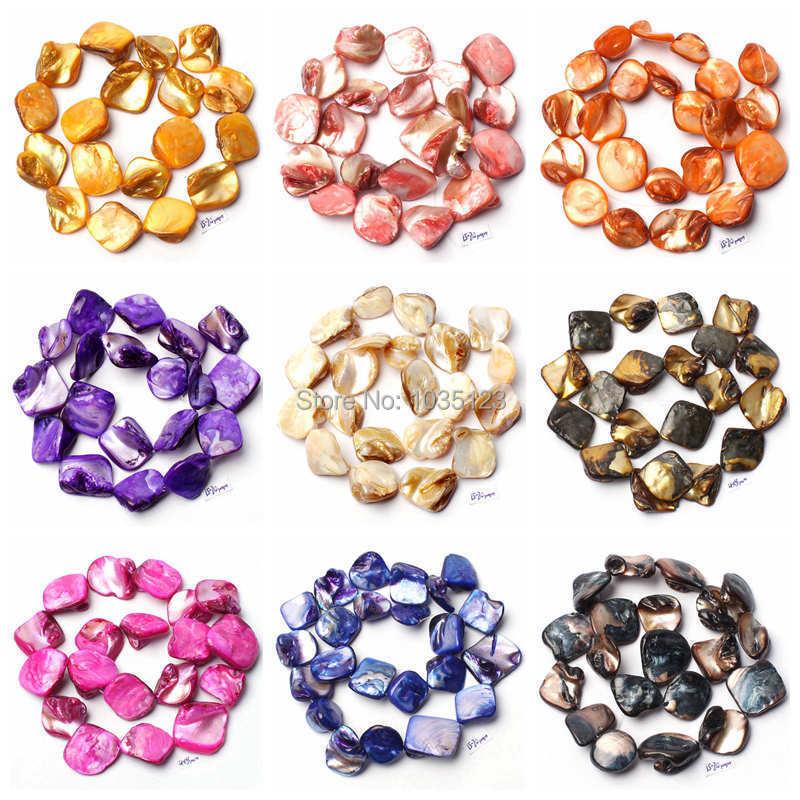 "Free Shipping 15-20mm Natural Freeform Shape 18 Color Shell MOP Loose Beads Strand 15"" DIY Creative Jewellery Making wj90(China (Mainland))"