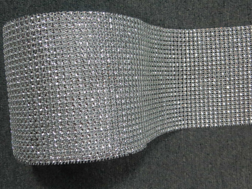 "Free Shipping 4.5"" x10Yards (24rows) Silver Color Diamond Mesh Wrap Roll Rhinestone Crystal Ribbon Trim Wedding Party Decoration(China (Mainland))"
