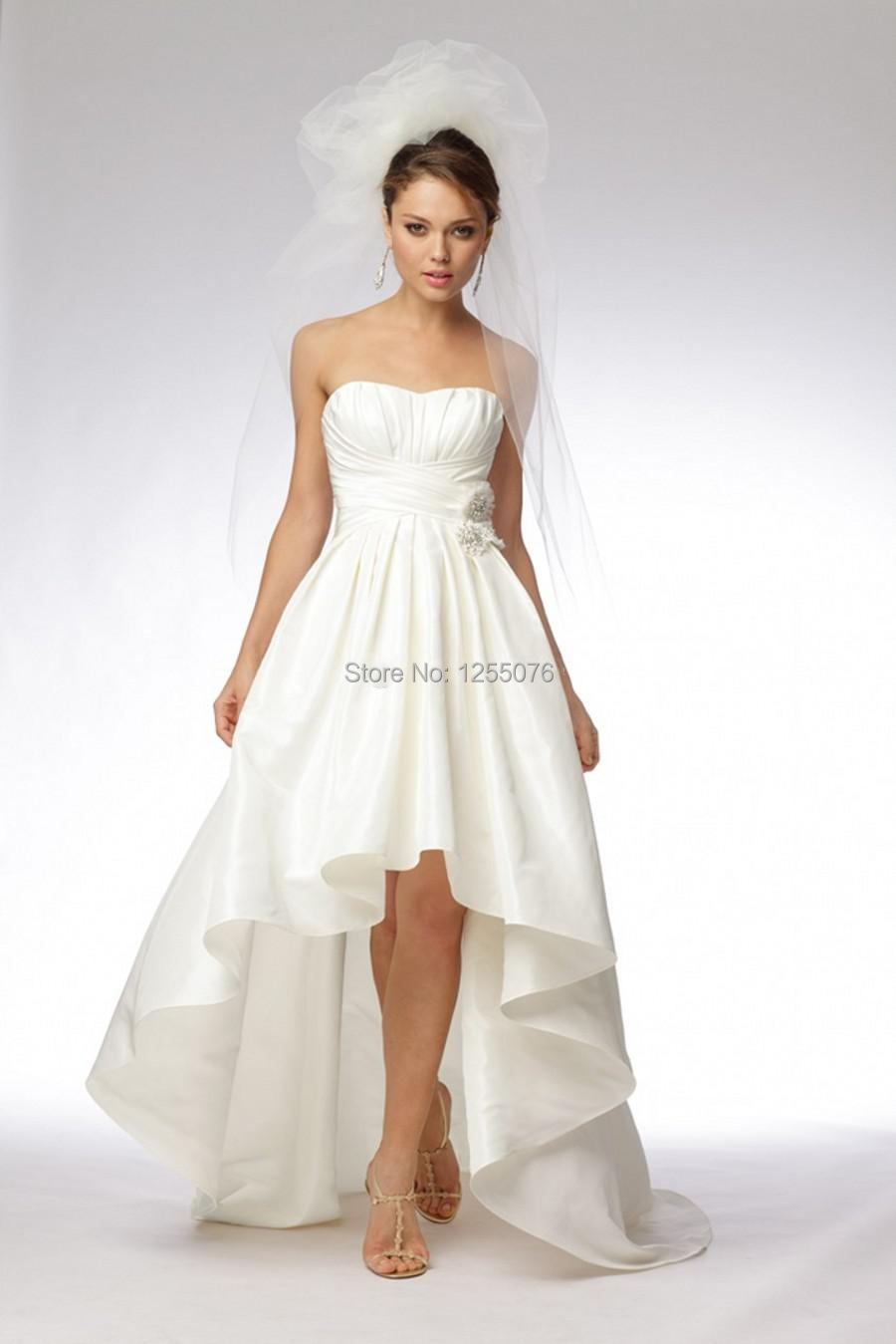 New 2014 simple wedding dresses strapless sexy hi lo sheer for Strapless and backless wedding dress