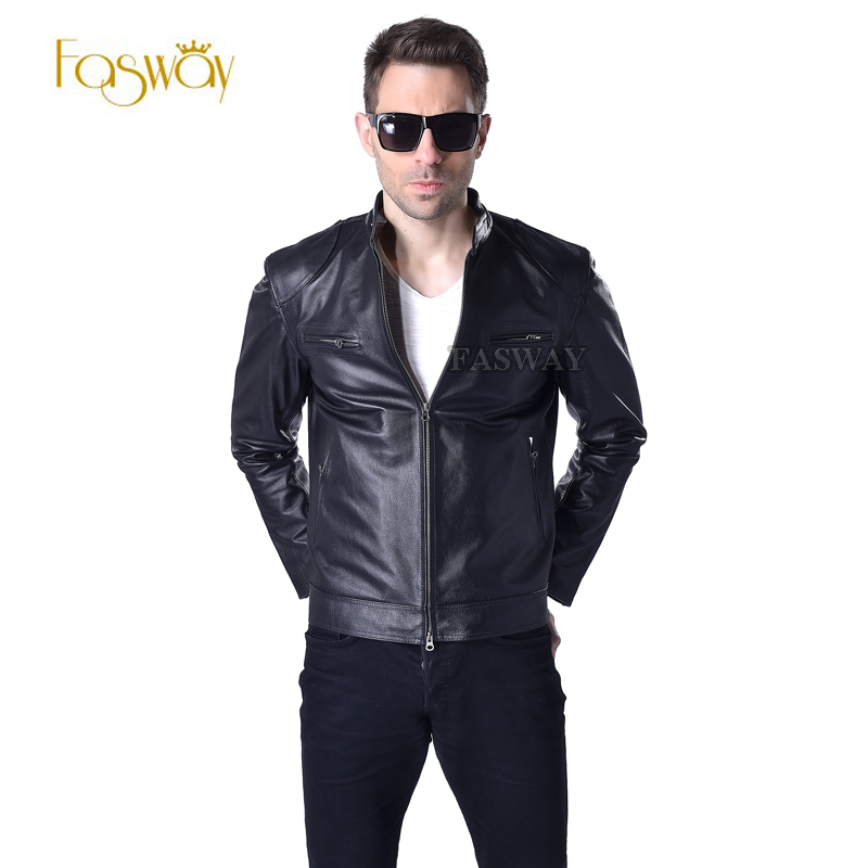 FASWAY Factory Men Genuine Leather Jacket 100% Real Cowhide Black Bomber Motorcycle Biker Man's Winter Coat Plus Size 6XL F033(China (Mainland))
