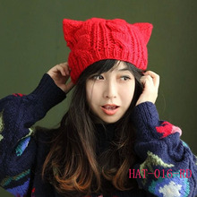 New Women Devil Cute Braided Ski Horns Cat Ear Crochet Beanie Knitting Wool Hat Cap Hat-016(China (Mainland))