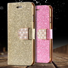 For iPhone 5S Leather Case Gold Luxury Shiny Diamond Gold Stand Flip Case For iPhone 5 5S SE Wallet Card Slot Cover Bling Powder(China (Mainland))