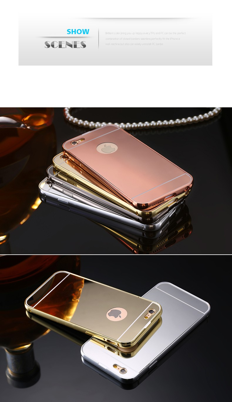 Luxury Bling Mirror Case for Apple iPhone 5 5S SE/6 6S/6S Plus Cover Hybrid Metal Aluminum Acrylic Back Phone Capa Fundas +LOGO