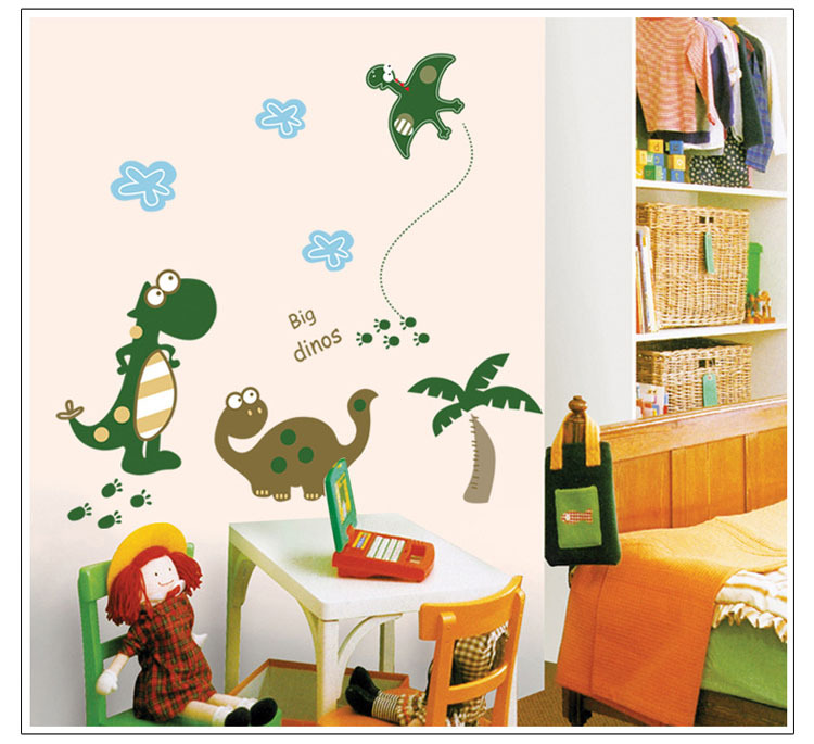Kids bedroom wall decor,cartoon big dinos waterproof wall stickers,house art decals,background wall murals,baby design decor