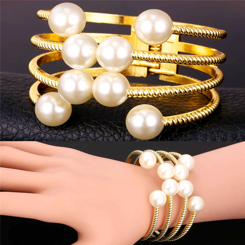 Pearl Jewelry Pearl Bracelets For Women Fashion 18K Gold Plated Jewelry Wholesale Multi Layers Cuff Bracelets Bangles IH1647(China (Mainland))