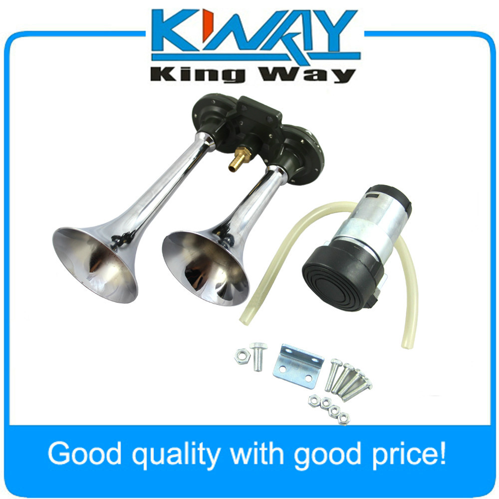 CHROME DUAL TRUMPET AIR HORN KIT Includes 12v. Compressor SUPER LOUD FOR CAR SUV<br><br>Aliexpress