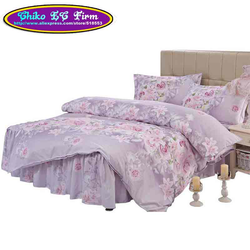 Home textile purple flower design parure de lit duvet cover pillowcase twin f - Parure de lit zara home ...