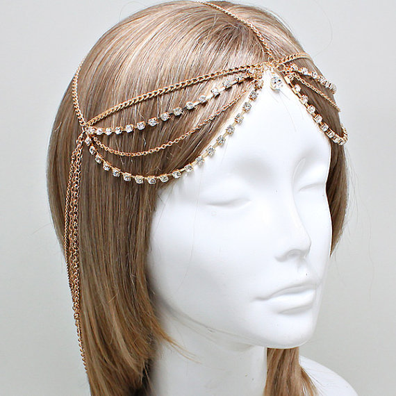 New Women Fashion Metal Rhinestone Head Chain Jewelry Headband Head Piece goddess headband grecian headchain(China (Mainland))