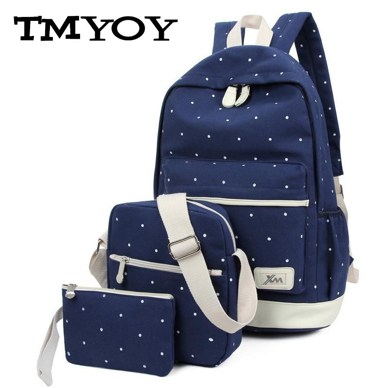 TMYOY 3 pcs set 2017 Canvas School Backpack for Grils Teenage New Casual Women Travel Backpack bags Dot laptop Bag female HC5045(China (Mainland))